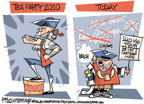 David Fitzsimmons - The Arizona Star - tea party devolution COLOR - English - tea party
