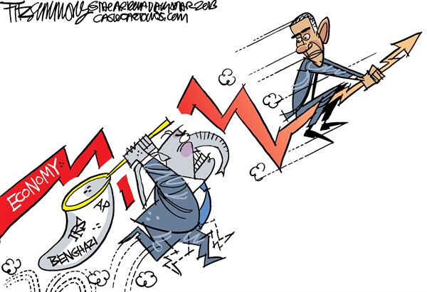 David Fitzsimmons - The Arizona Star - the chase COLOR - English - obama, scandals, republicans