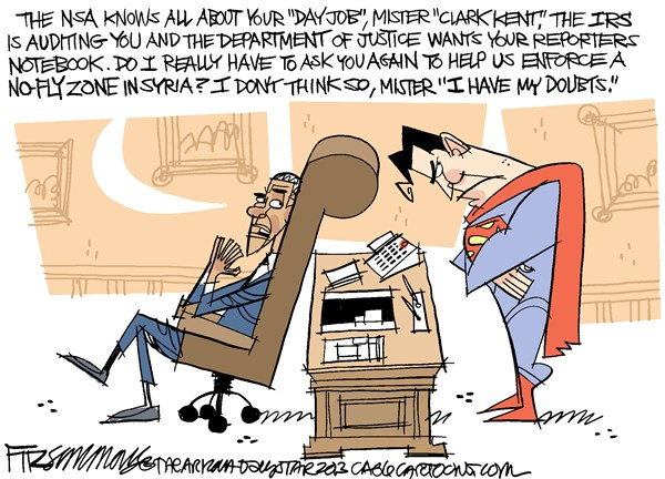 David Fitzsimmons - The Arizona Star - CORRECTED Not so super COLOR - English - superman, syria, nsa, spying, survelliance, AP, the press, obama