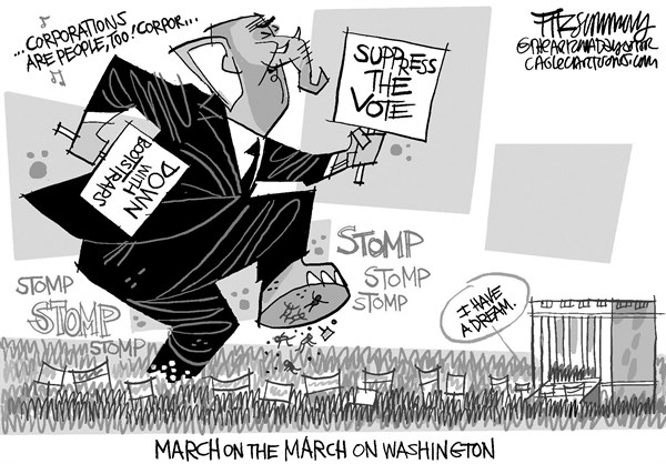 David Fitzsimmons - The Arizona Star - March on Washington - English - March on Washington,voter suppression,republicans,civil rights,poverty, race