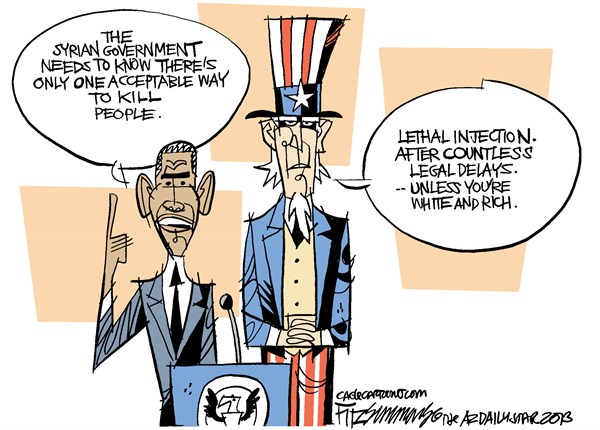 David Fitzsimmons - The Arizona Star - Syria and Capital Punishment COLOR - English - Syria