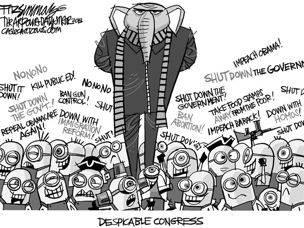David Fitzsimmons - The Arizona Star - Despicable Congress - English - congress, republicans, tea party, budget, obamacare