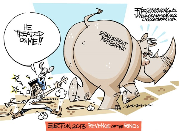 David Fitzsimmons - The Arizona Star - Election 2013 COLOR - English - tea party,election,rino,republicans
