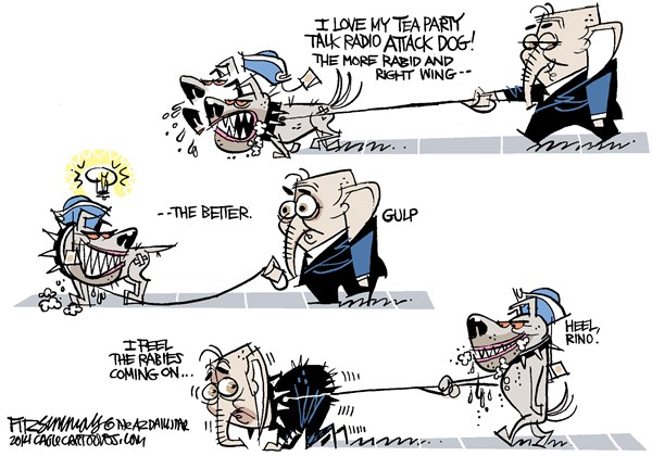 Attack dog turns © David Fitzsimmons,The Arizona Star,republicans, tea party, cantor