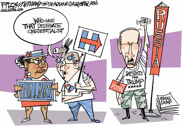 David Fitzsimmons - The Arizona Star - COLOR Dem fun - English - Democrats, Democratic convention, Putin, email dump, wikileaks