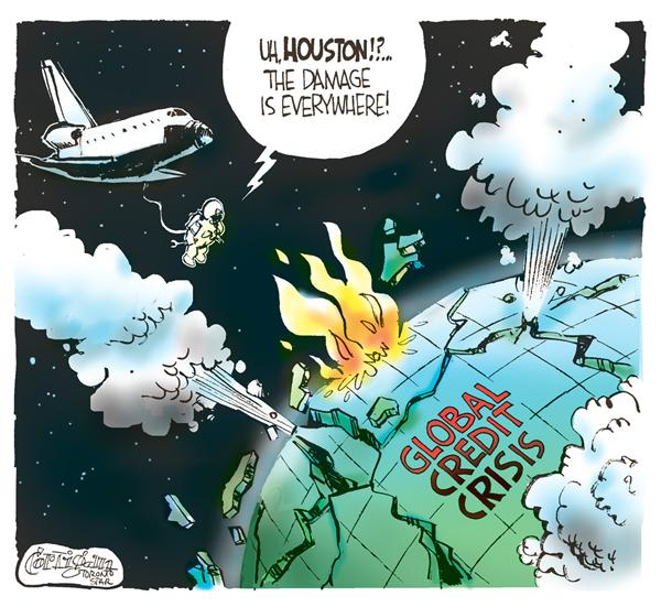 Patrick Corrigan - The Toronto Star - Global Credit Crisis COLOR - English - Nasa, shuttle, markets, credit, dow, nasdaq, space