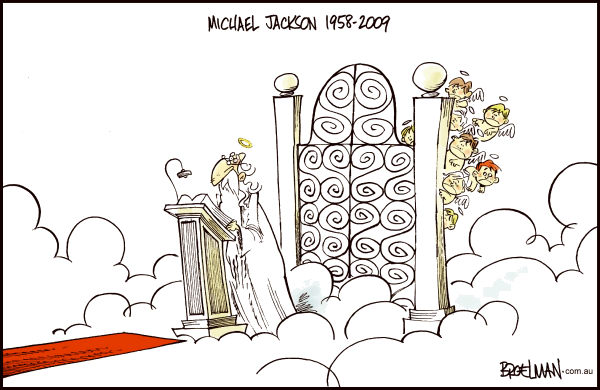 Michael Jackson at the Pearly Gates © Peter Broelman,Australia,Michael Jackson,St. Peter,Saint Peter,Pearly Gates,Child abuse,pedophile,pedophilia
