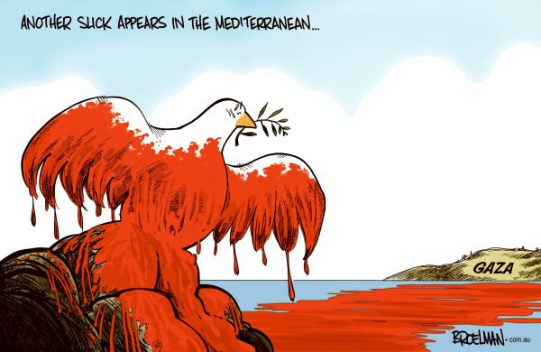Peter Broelman - Australia - Another slick on the Mediterranean COLOR - English - Israel, oil, oil spill, Hamas, freedom Flotilla, middle east