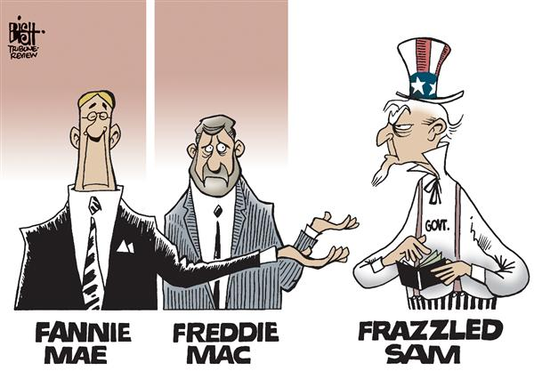 Randy Bish - Pittsburgh Tribune-Review - Frazzled Sam - English - Fannie Mae, Freddie Mac, bailout, mortgage, lending, economy, housing