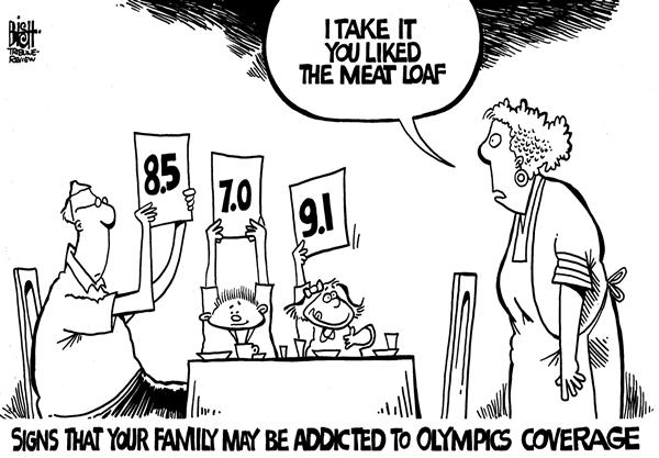 Randy Bish - Pittsburgh Tribune-Review - Addicted to the Olympics, b/w - English - OLYMPICS,COVERAGE,TELEVISION,ADDICTION,MEDIA