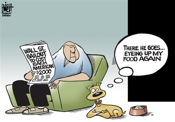 Randy Bish - Pittsburgh Tribune-Review - Bailout cost, COLOR - English - BAILOUT,WALL STREET,GOVERNMENT,TAXPAYER,COST