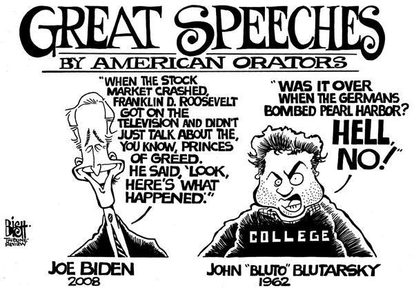 Randy Bish - Pittsburgh Tribune-Review - Great American Orators, b/w - English - JOE BIDEN,COURIC,REMARKS,ROOSEVELT,STOCK MARKET,CRASH,TELEVISION