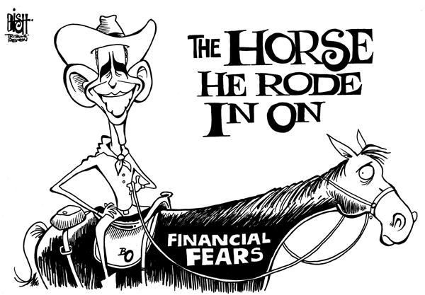 Randy Bish - Pittsburgh Tribune-Review - Obamas horse, b/w - English - OBAMAFEARS,ECONOMY,WORRY