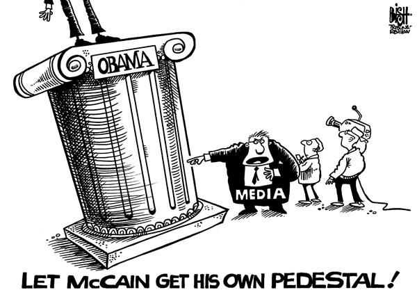 Randy Bish - Pittsburgh Tribune-Review - Obamas pedestal, b/w - English - OBAMA,MEDIA,COVERAGE