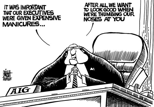 Randy Bish - Pittsburgh Tribune-Review - AIG manicures, b/w - English - AIG,BAILOUT,MARKET,EXECUTIVES,MANICURES
