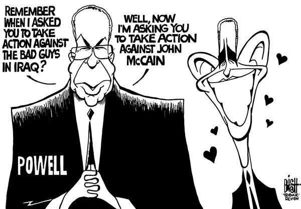 Randy Bish - Pittsburgh Tribune-Review - Powell and Obama, b/w - English - OBAMA,COLIN POWELL,ENDORSE,CAMPAIGN