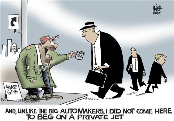 Randy Bish - Pittsburgh Tribune-Review - Just flew in to beg, COLOR - English - BAILOUT,GOVERNMENT,AUTOMAKER