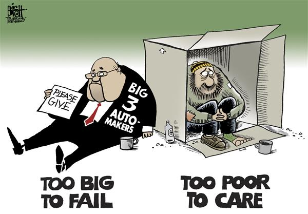 Randy Bish - Pittsburgh Tribune-Review - Too big to fail, COLOR - English - TOO BIG TO FAIL,BIG 3,AUTOMAKERS,FORD,GM,CHRYSLER