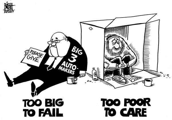 Randy Bish - Pittsburgh Tribune-Review - Too big to fail, b/w - English - TOO BIG TO FAIL,BIG 3,AUTOMAKERS,FORD,GM,CHRYSLER