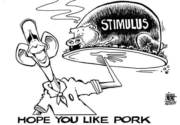 Randy Bish - Pittsburgh Tribune-Review - STIMULUS PORK, b/w - English - STIMULUS,PACKAGE,OBAMA