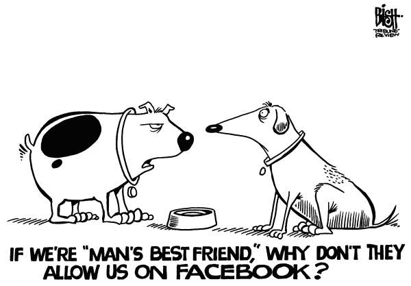 Randy Bish - Pittsburgh Tribune-Review - BEST FRIENDS AND FACEBOOK, b/w - English - FACEBOOK,FRIENDS,DOG