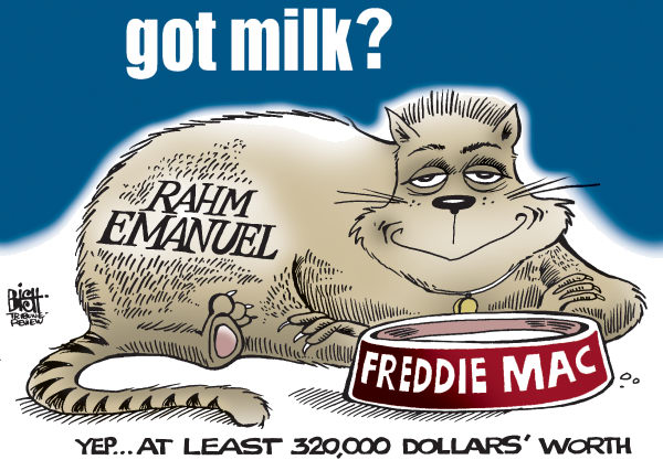 Randy Bish - Pittsburgh Tribune-Review - FAT CAT RAHM, COLOR - English - RAHM EMANUEL,FREDDIE MAC