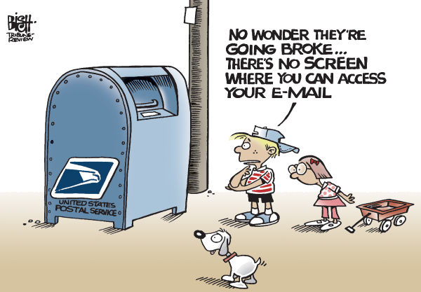 Randy Bish - Pittsburgh Tribune-Review - POSTAL SERVICE, COLOR - English - UNITED STATES POSTAL SERVICE,BROKE