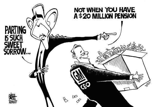 Randy Bish - Pittsburgh Tribune-Review - GM CEOs PENSION, b/w - English - GM,CEO,OBAMA,PENSION