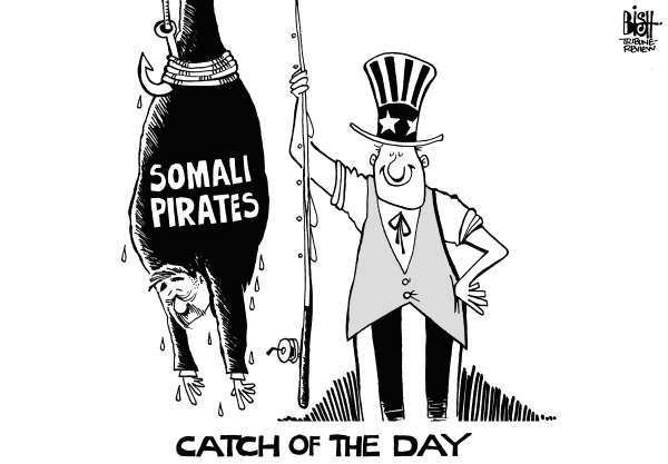 Randy Bish - Pittsburgh Tribune-Review - SOMALI PIRATES, b/w - English - SOMALI PIRATES,SHIP