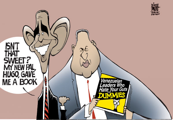 Randy Bish - Pittsburgh Tribune-Review - CHAVEZ GIVES OBAMA A BOOK, COLOR - English - HUGO CHAVEZ,OBAMA,SHAKE,HANDS,VENEZUELA