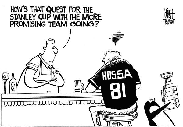 Randy Bish - Pittsburgh Tribune-Review - HOSSA AND THE PENGUINS, b/w - English - HOSSA, RED WINGS, PENGUINS, STANLEY CUP