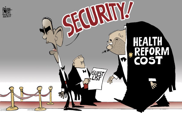 UNWELCOME COSTS, COLOR © Randy Bish,Pittsburgh Tribune-Review,HEALTH CARE, REFORM, COST, OBAMA