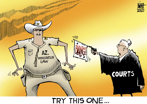 ARIZONA LAW, COLOR © Randy Bish,Pittsburgh Tribune-Review,ARIZONA, IMMIGRATION, ILLEGAL, FEDERAL, LAW, ENFORCEMENT