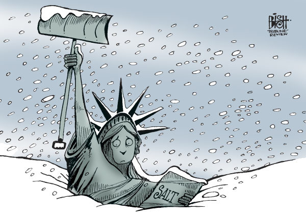 SNOW IN NEW YORK, COLOR © Randy Bish,Pittsburgh Tribune-Review,SNOW, BLIZZARD, NEW YORK, NEW YORK CITY, STATUE OF LIBERTY, WINTER, 2010