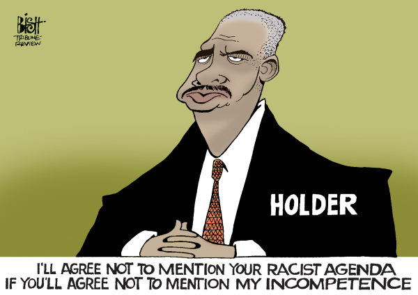 Randy Bish - Pittsburgh Tribune-Review - HOLDER BLAMES IT ON RACE, COLOR - English - ATTORNEY GENERAL, ERIC HOLDER, HOLDER, FAST AND FURIOUS, GUNS, MEXICO, CRIMINALS, DEATHS, KILLED, RACE, RACIST, SCANDAL