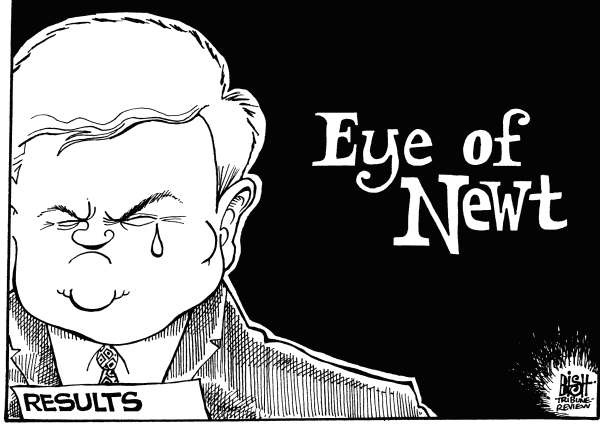 Randy Bish - Pittsburgh Tribune-Review - EYE OF NEWT GINGRICH, B/W - English - NEWT, GINGRICH, PRIMARY, PRIMARIES, ELECTION, REPUBLICAN, GOP, IOWA, NEW HAMPSHIRE, NEWT GINGRICH, PRESIDENT