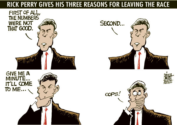 PERRYS THREE REASONS, COLOR © Randy Bish,Pittsburgh Tribune-Review,RICK PERRY, GOVERNOR, TEXAS, ELECTION, PRESIDENT, DROPPED