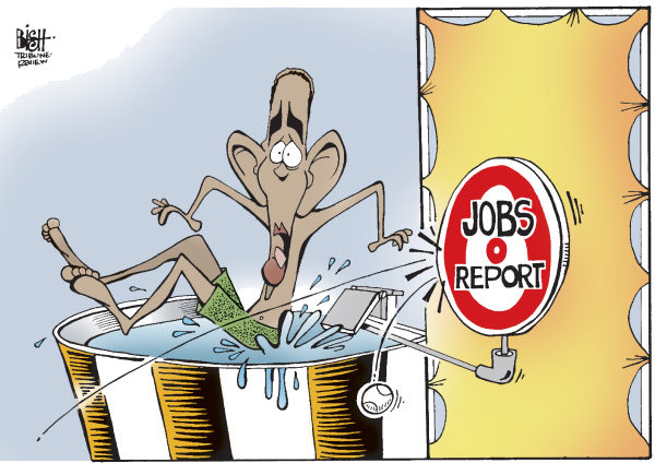 Randy Bish - Pittsburgh Tribune-Review - INTO THE TANK, COLOR - English - OBAMA, EMPLOYMENT, JOBS, REPORT, JOB, DATA, NUMBERS