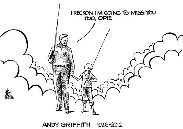 Randy Bish - Pittsburgh Tribune-Review - ANDY GRIFFITH, RIP, B/W - English - ANDY GRIFFITH