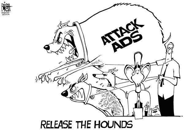 Randy Bish - Pittsburgh Tribune-Review - RELEASE THE HOUNDS, B/W - English - CAMPAIGN, ELECTION, ADS, ADVERTISING, COMMERCIAL, COMMERCIALS, ATTACK, AD, DIRTY, OBAMA, ROMNEY, PRESIDENTIAL