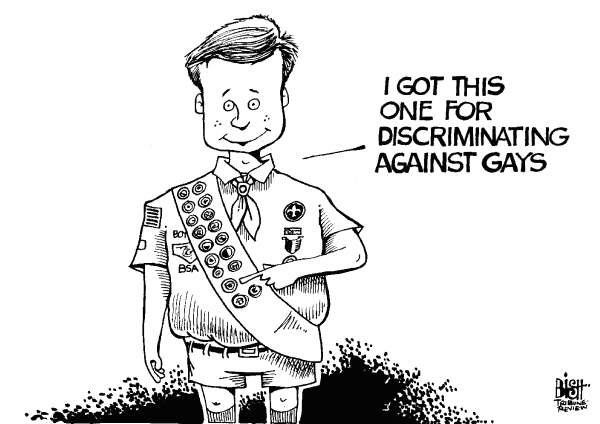 Randy Bish - Pittsburgh Tribune-Review - BOY SCOUTS AND GAYS, B/W - English - GAY, GAYS, BAN, BANNED, BOY SCOUT, SCOUTS, SCOUTING, DISCRIMINATION, DISCRIMINATE