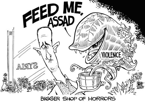 Randy Bish - Pittsburgh Tribune-Review - SYRIAN SHOP OF HORRORS, B/W - English - SYRIA, ASSAD, REGIME, CHAOS, KILLED, WAR, MILITARY