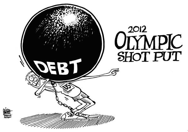 Randy Bish - Pittsburgh Tribune-Review - OLYMPIC DEBT TOSS, B/W - English - OLYMPIC, OLYMPICS, UNITED STATES, AMERICA, DEBT, 2012