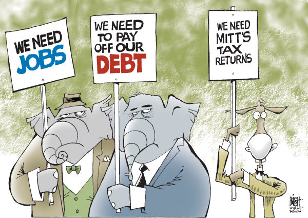 Randy Bish - Pittsburgh Tribune-Review - PRIORITIES, COLOR - English - REPUBLICANS, DEMOCRATS, ELECTION, ROMNEY, TAX, CAMPAIGN, RETURNS