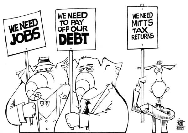 Randy Bish - Pittsburgh Tribune-Review - PRIORITIES, B/W - English - REPUBLICANS, DEMOCRATS, ELECTION, ROMNEY, TAX, CAMPAIGN, RETURNS
