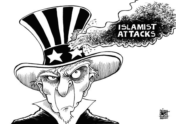 Randy Bish - Pittsburgh Tribune-Review - AMERICA UNDER FIRE, B/W - English - ISLAMIST, LIBYA, AMBASSADOR, KILLED, ATTACKS, EGYPT, YEMEN, ISLAM