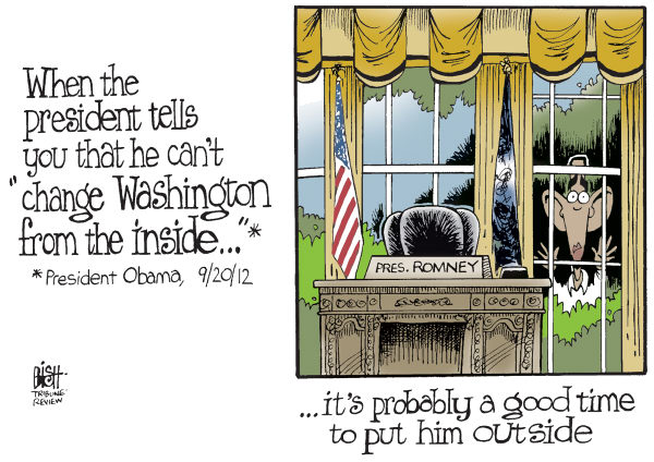 Randy Bish - Pittsburgh Tribune-Review - OBAMA ON THE OUTSIDE, COLOR - English - OBAMA, CHANGE, WASHINGTON, INSIDE, ELECTION, FIX, CAMPAIGN, GOVERNMENT