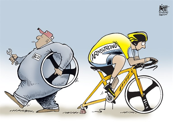 Randy Bish - Pittsburgh Tribune-Review - THE END OF LANCE'S RIDE, COLOR - English - LANCE ARMSTRONG, ICU, INTERNATIONAL CYCLING UNION, CYCLING, BAN, BANNED, STRIPPED, TITLES, TOUR DE FRANCE, BIKE, CHEATING, DRUGS