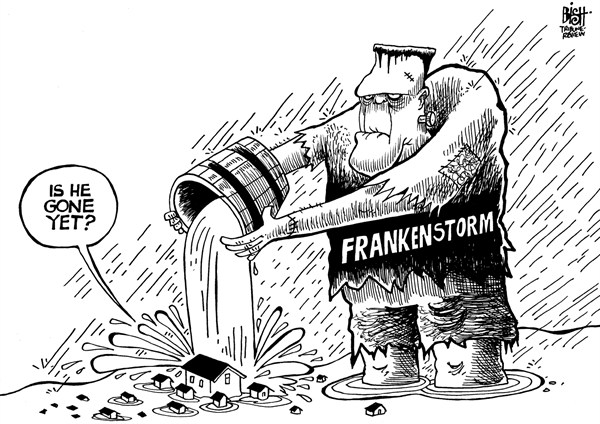 Randy Bish - Pittsburgh Tribune-Review - FRANKENSTORM, B/W - English - FRANKENSTORM, HURRICANE, HURRICANE SANDY, SANDY, STORM, DAMAGE, FLOODING, COAST