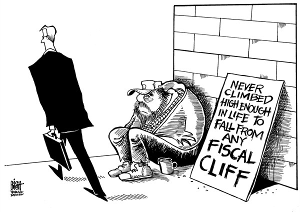 Randy Bish - Pittsburgh Tribune-Review - TOO LOW FOR A FISCAL CLIFF, B/W - English - FISCAL CLIFF, ECONOMY, POOR, HOMELESS, UNEMPLOYED